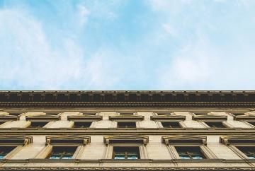 Fachada de un edificio en perpectiva